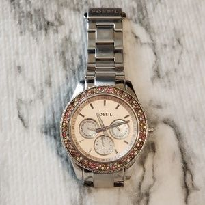 FOSSIL Watch with Multi Color Pink Rhinestones
